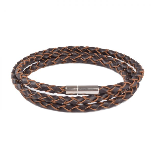 Braided Triple Wrap Genuine Leather Bracelet - Brown