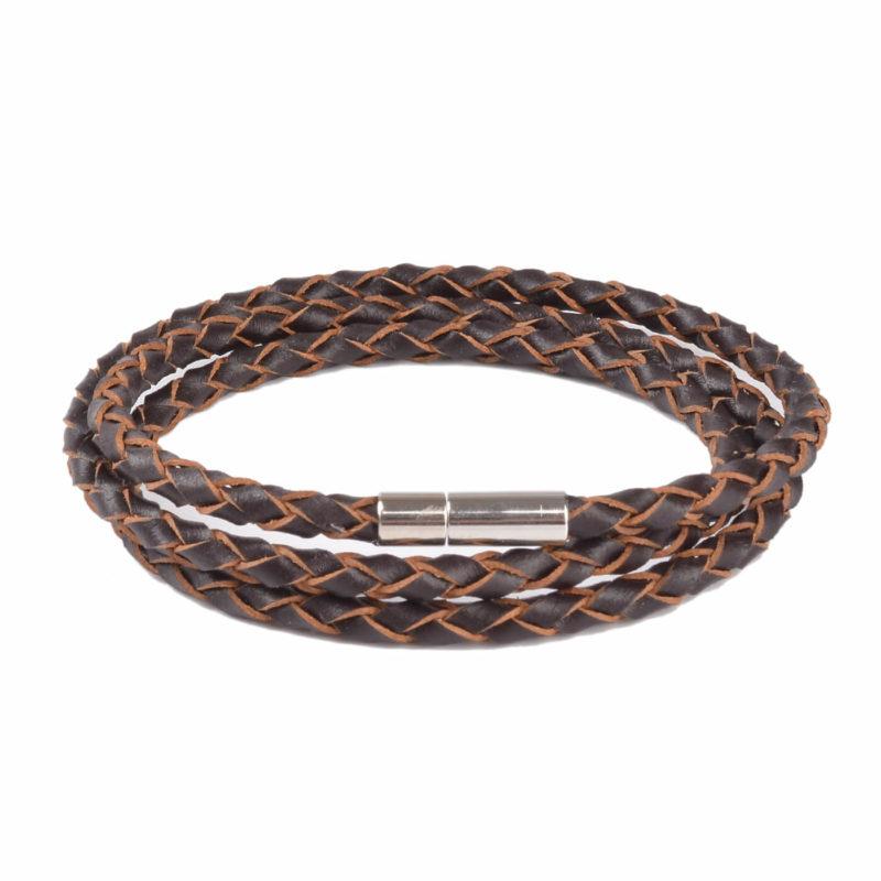Braided Triple Wrap Genuine Leather Bracelet - Brown