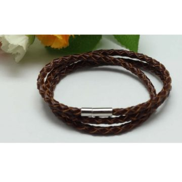 Braided Triple Wrap Genuine Leather Bracelet - Brown 2