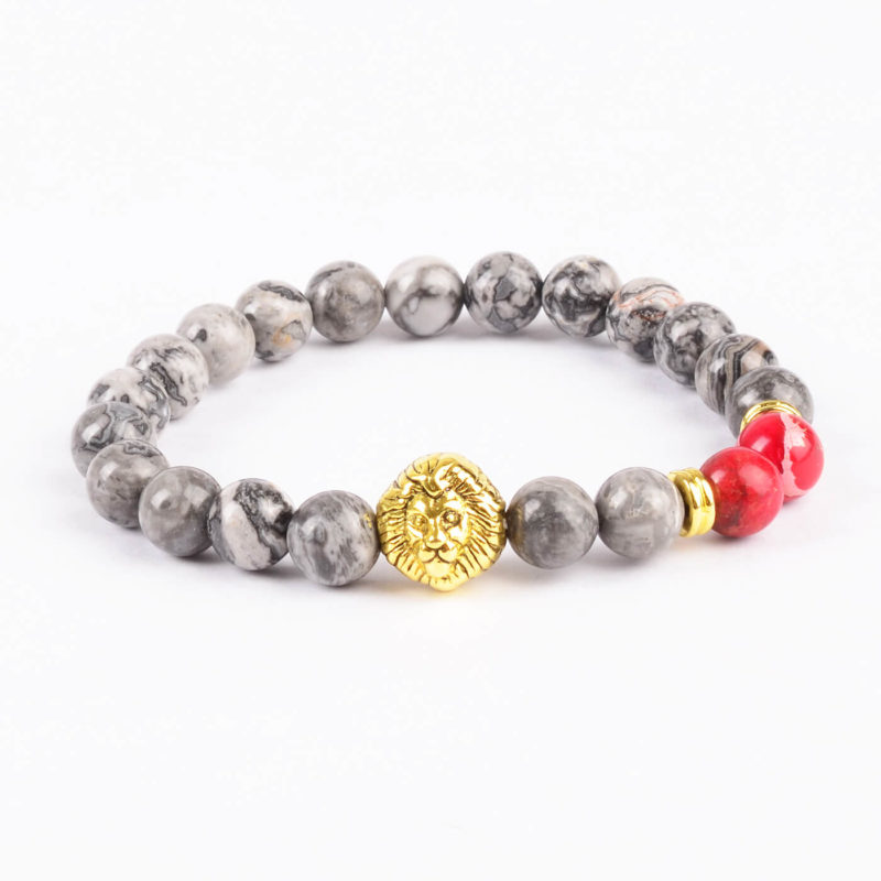 Golden Lion Stability Bracelet - Picasso Jasper & Red Stone Beads