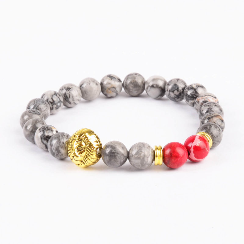 Golden Lion Stability Bracelet - Picasso Jasper & Red Stone Beads