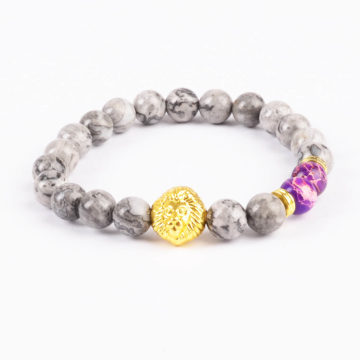 Golden Lion Stability Bracelet - Picasso Jasper & Purple Stones