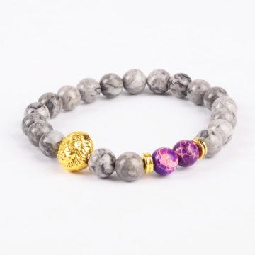 Golden Lion Stability Bracelet - Picasso Jasper
