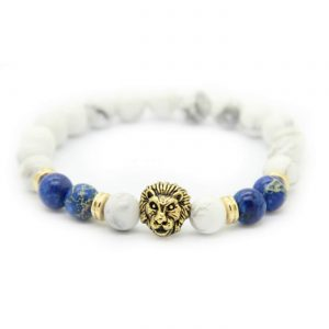 Golden Lion Spritual Knowledge Bracelet - White & Blue Jasper Sones