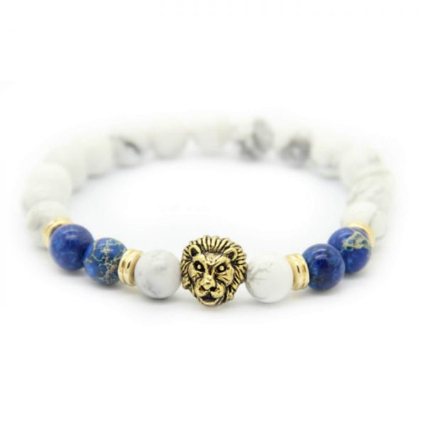 Golden Lion Spritual Knowledge Bracelet - White & Blue Jasper Sones