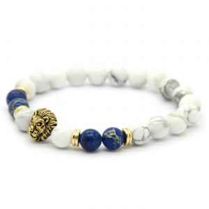 Golden Lion Spritual Knowledge Bracelet - White