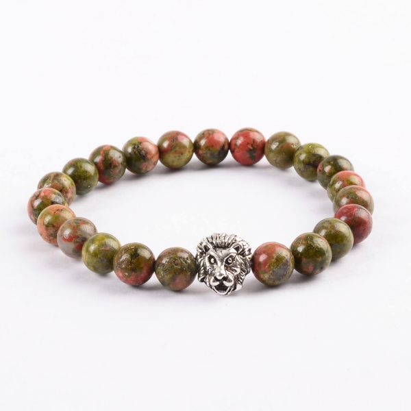 Silver Lion Psychic Vision Bracelet - Unakite Green & Red Stones
