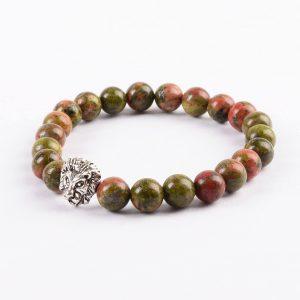 Silver Lion Psychic Vision Bracelet - Unakite Green