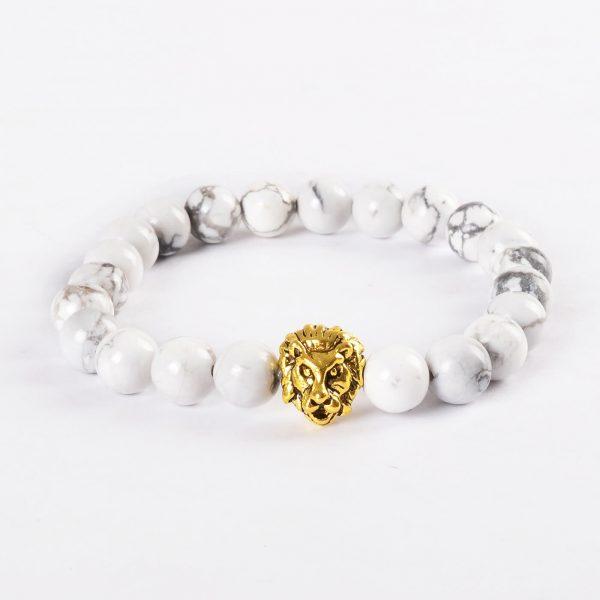 Golden Lion Ambitious Progress Bracelet - White Howlite Stones