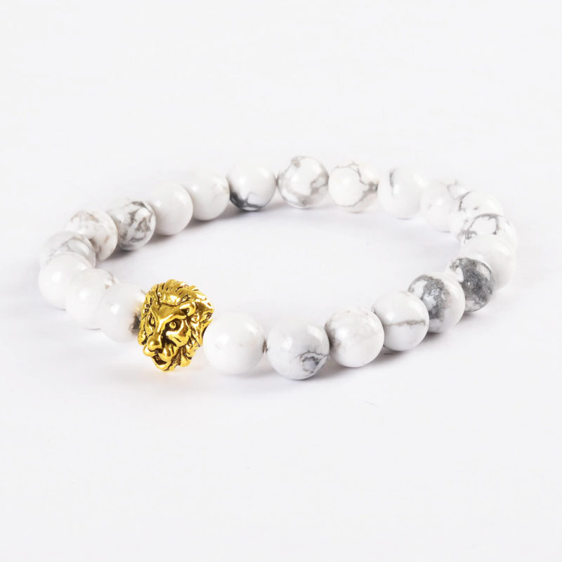 Golden Lion Ambitious Progress Bracelet - White Howlite Stones