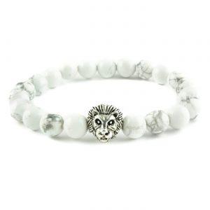 Silver Lion Ambitious Progress Bracelet - White Howlite Stones