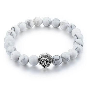 Silver Lion Ambitious Progress Bracelet - White Howlite Stones 2