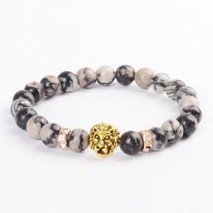 Golden Lion Wisdom Bracelet - Spider Web Jasper Stone Beads