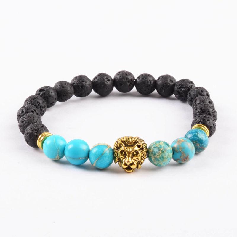 Golden Lion Spiritual Calmness Bracelet - Blue Jasper & Lava Stones