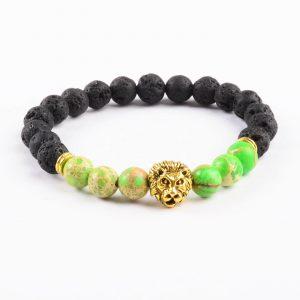 Golden Lion Obsession Balancing Bracelet - Green Jasper & Lava Stones