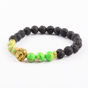 Golden Lion Obsession Balancing Bracelet - Green Jasper