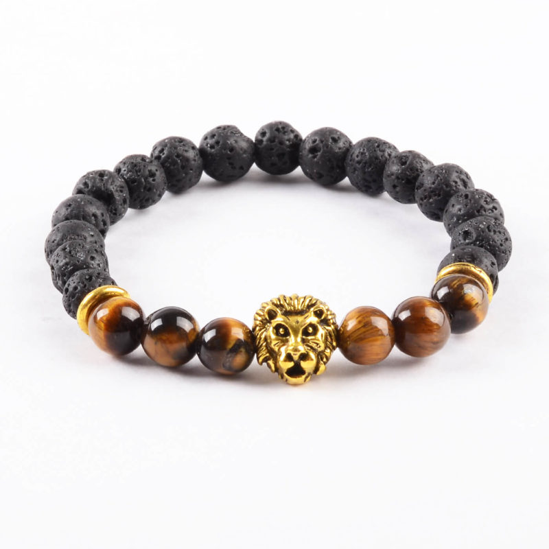 Golden Lion Spiritual Harmony Bracelet- Tiger Eye & Lava Stones