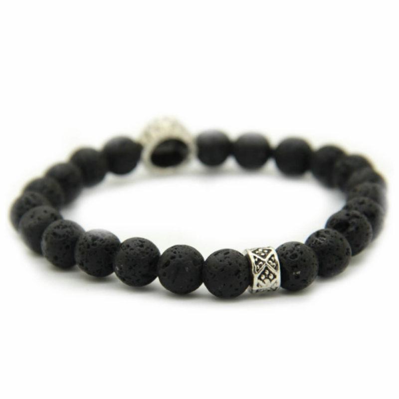 Alpha Silver Lion Fertility & Strenght Bracelet - Black Lava Stones