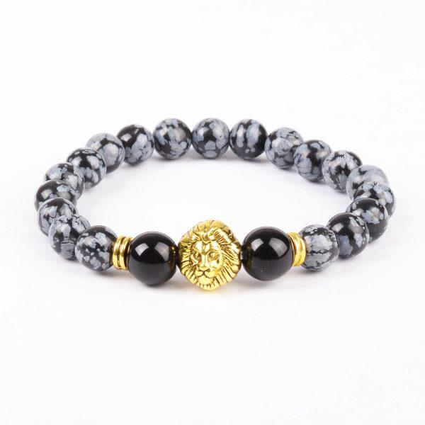 Alpha Gold Lion Life Balancing Bracelet - Black Grey Obsidian Stones