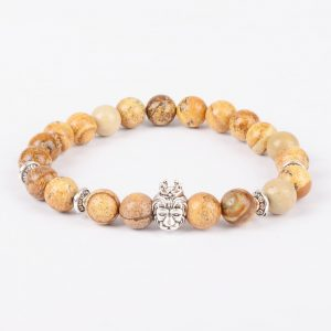 Silver Crowned Lion Will Power Stability Bracelet - Picture Jasper Stones