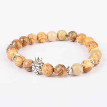 Silver Crowned Lion Will Power Stability Bracelet - Picture Jasper Stones 2