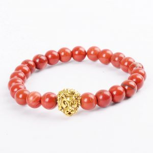 Golden Lion Passion & Courage Bracelet - Red Jasper Stone Beads