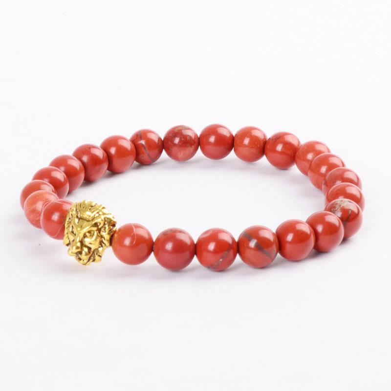 Golden Lion Passion & Courage Bracelet - Red Jasper Stone Beads