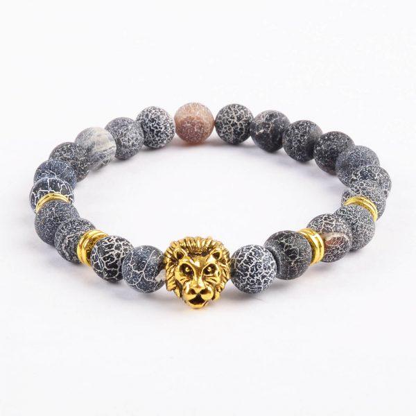 Golden Lion Emotional Stability Bracelet - Frosted Veins Stones