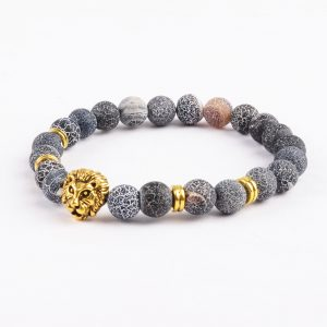 Golden Lion Emotional Stability Bracelet - Frosted Veins Stones 2