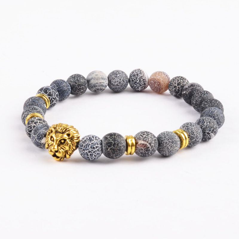 Golden Lion Emotional Stability Bracelet - Frosted Veins Stones