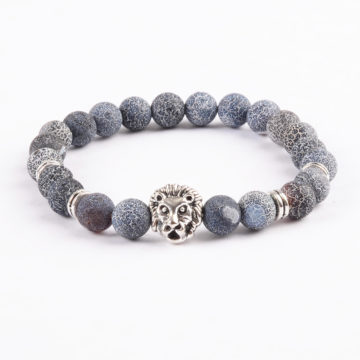 Silver Lion Emotional Stability Bracelet - Frosted Veins Stones