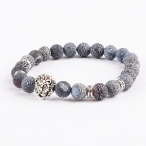 Silver Lion Emotional Stability Bracelet - Frosted Veins Stones 2