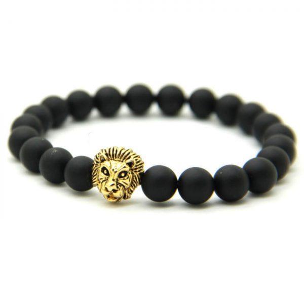 Golden Lion Courage & Protection Bracelet - Matte Black Agate Beads