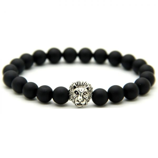 Silver Lion Courage & Protection Bracelet - Matte Black Agate Beads