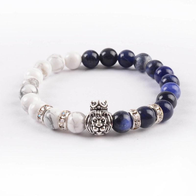 Crowned Lion Spiritual Guardian Bracelet - Howlite & Lazurite Stones