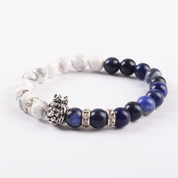 Crowned Lion Spiritual Guardian Bracelet - Howlite
