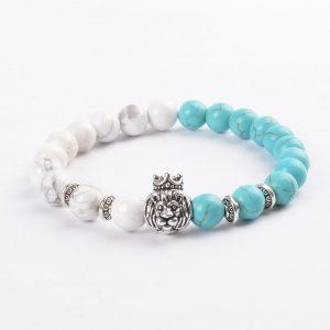 Crowned Lion Piece & Calmness Bracelet - Howlite & Turquoise Stones