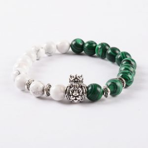 Crowned Lion Protection & Calmness Bracelet - Howlite & Malachite Stones