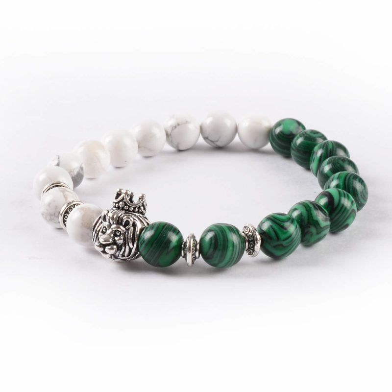 Crowned Lion Protection & Calmness Bracelet - Howlite & Malachite Stones