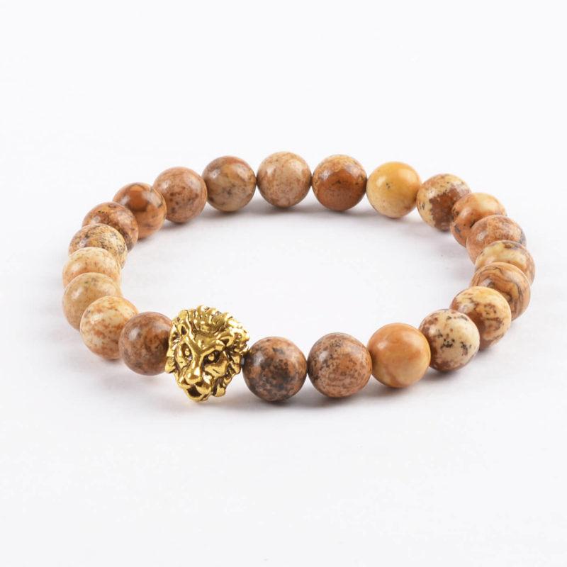 Golden Lion Will Power & Stability Bracelet - Picture Jasper Stones