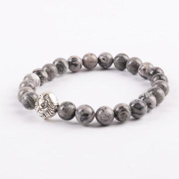 Silver Alpha Lion Friendship Strengthen Bracelet - Picasso Jasper Stones 2