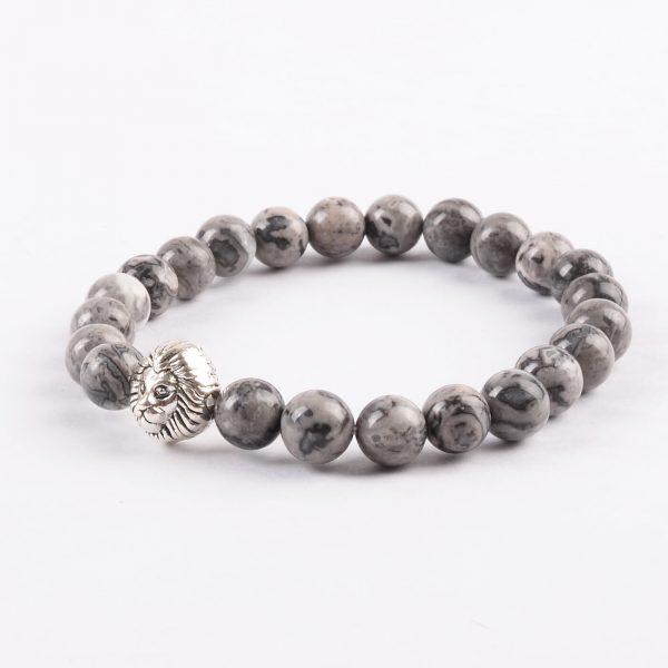 Silver Alpha Lion Friendship Strengthen Bracelet - Picasso Jasper Stones