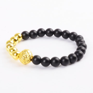 Alpha Golden Lion Protection Bracelet - Matte Black Agate
