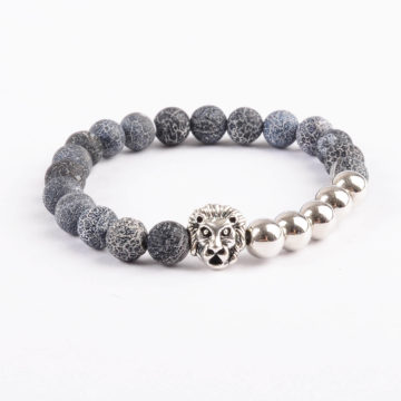 Silver Lion Emotional Stability Bracelet - Frost Veins & Silver Beads