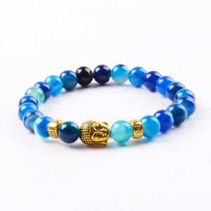 Golden Buddha Positive Approach Bracelet | Blue Agate Stone Beads