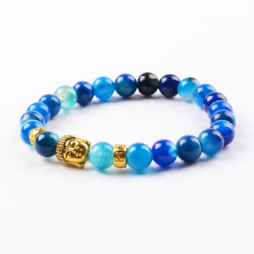 Golden Buddha Positive Approach Bracelet | Blue Agate Stone Beads 2