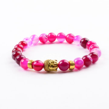 Golden Buddha Passion & Love Bracelet | Pink Agate Stone Beads