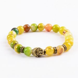 Antique Buddha Emotinal Wisdom Bracelet | Apple Green Agate Stone Beads