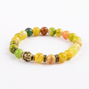 Antique Buddha Emotinal Wisdom Bracelet | Apple Green Agate Stone Beads 2
