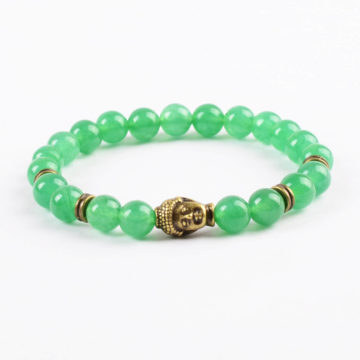 Antique Bronze Buddha Optimistic Growth Bracelet | Green Aventurine Jade